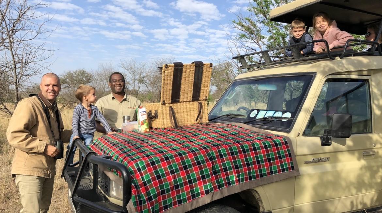 lunchen op safari in een national park