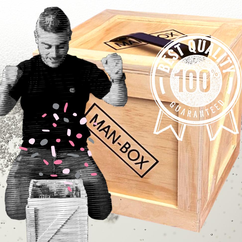 Blije Man Met Zijn Man-Box