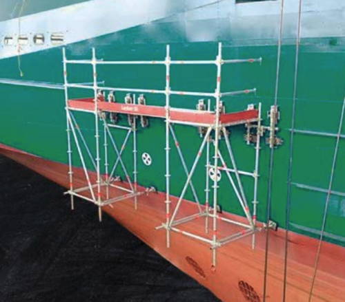 Suspended scaffolds on a boat