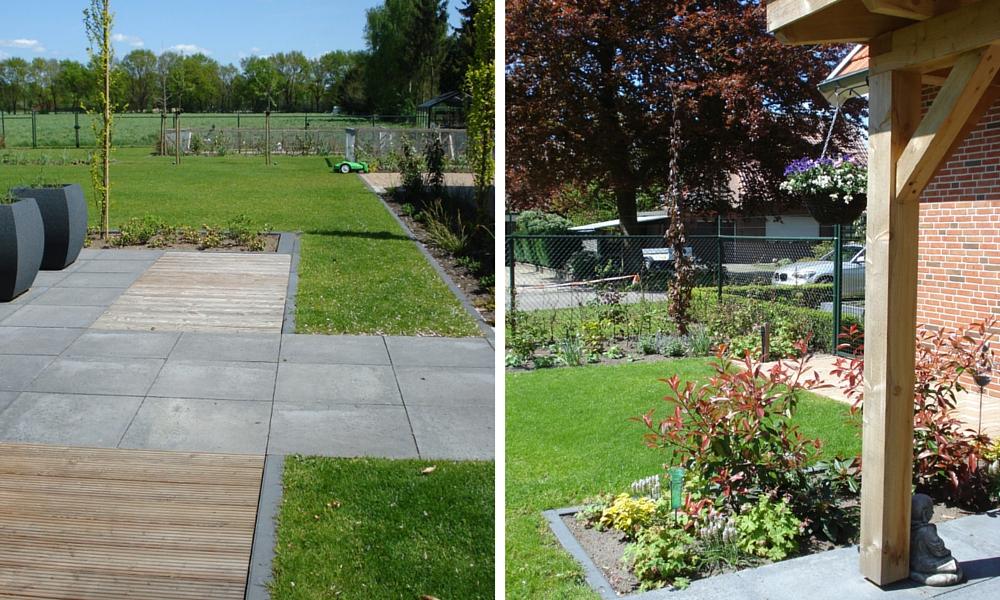 Strakke tuin in een landelijke omgeving tuinaanleg over de grens dld - Dek een terras met tegels ...