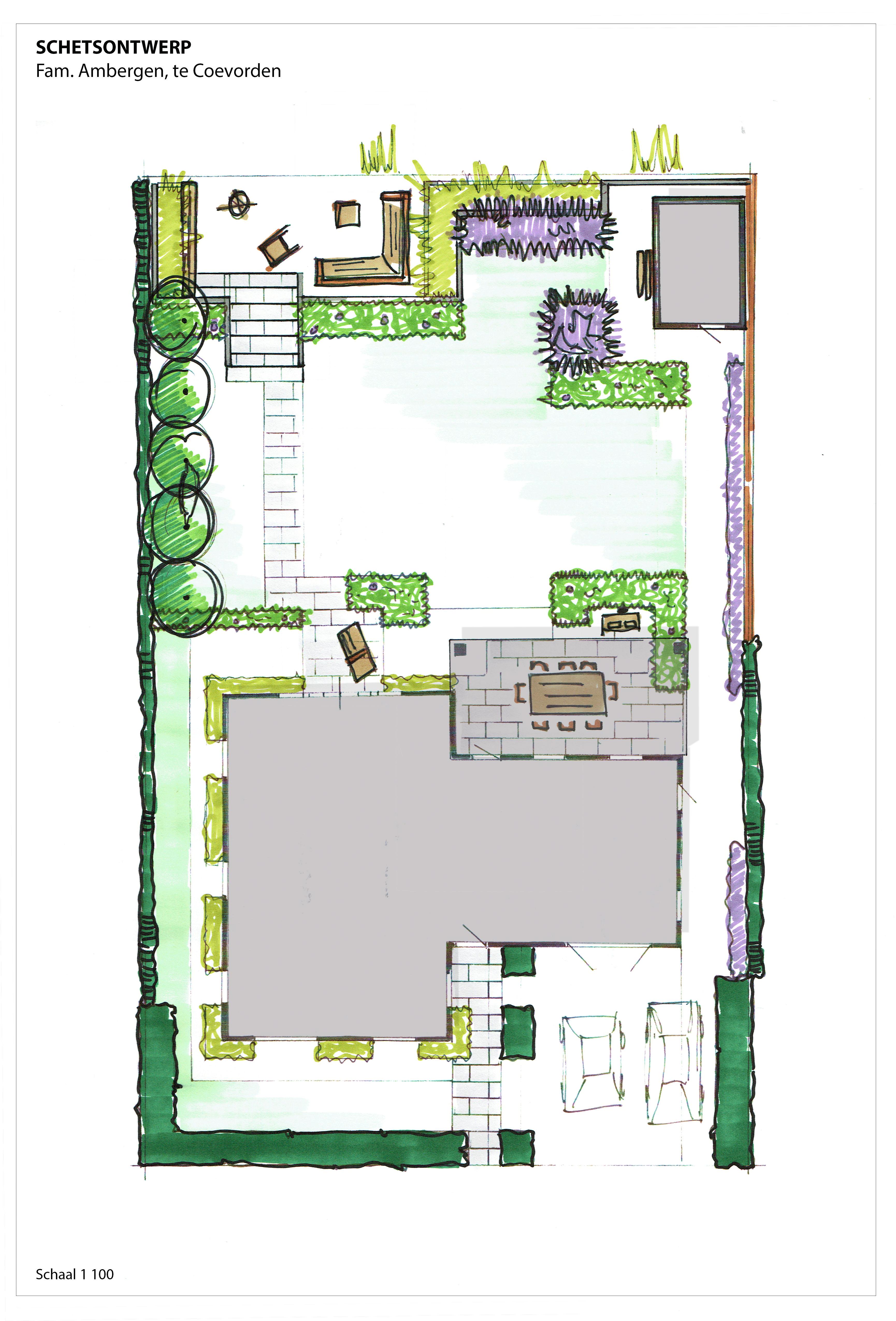 Tuinontwerp coevorden schetsontwerp moderne tuin for Tuinontwerp boek