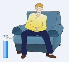 zuurstoftank aan een mens