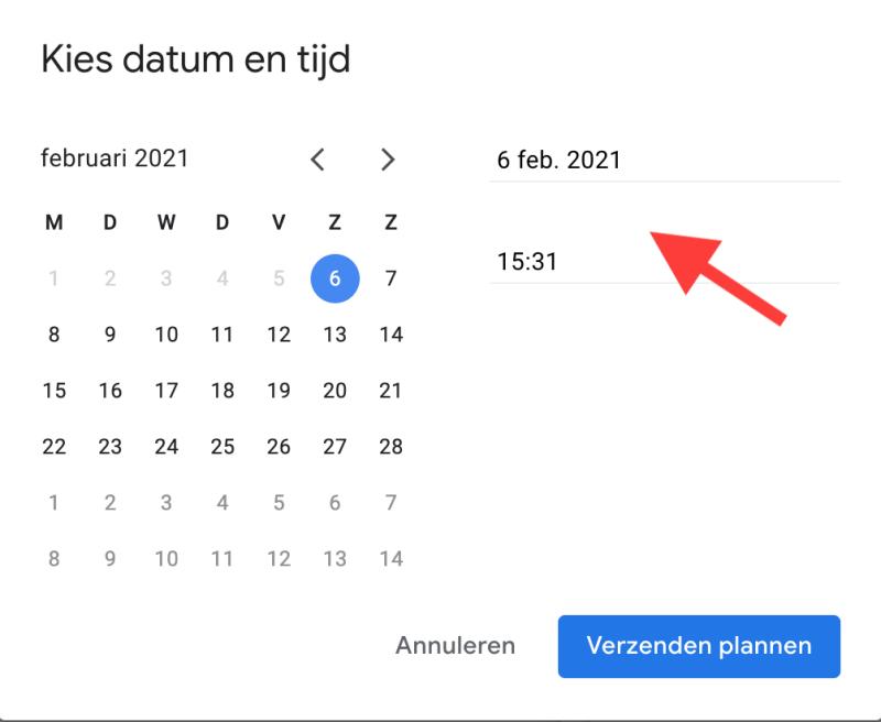 mail later verzenden in gmail - kies datum ent tijd