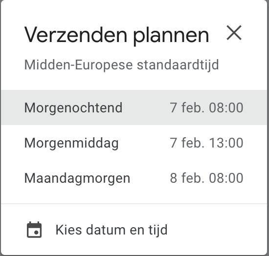 mail later verzenden in gmail - kies datum