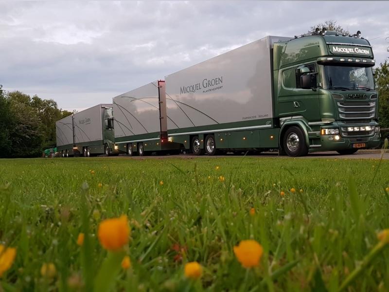 Own Micquel Groen lorry fleet supplying garden centres in the United Kingdom.