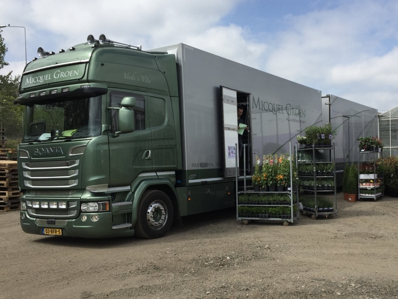 Plant sample lorry delivering in the United Kingdom.