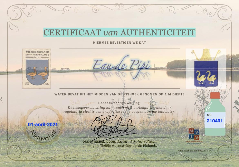 certificaat eau de pipi MijnVakantiehuisJouwVakantiehuis.nl