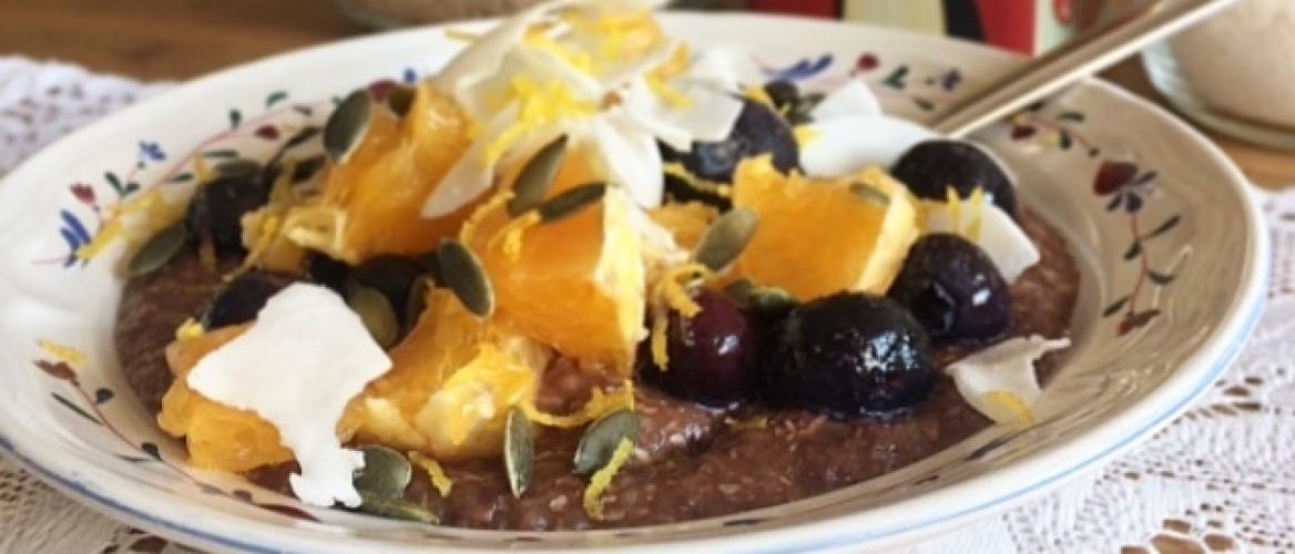 Boekweitpap met cacao en fruit - recept