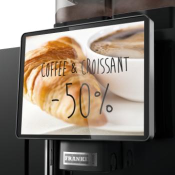 Communicatie op het scherm van de Frank A1000 professionele koffiemachine
