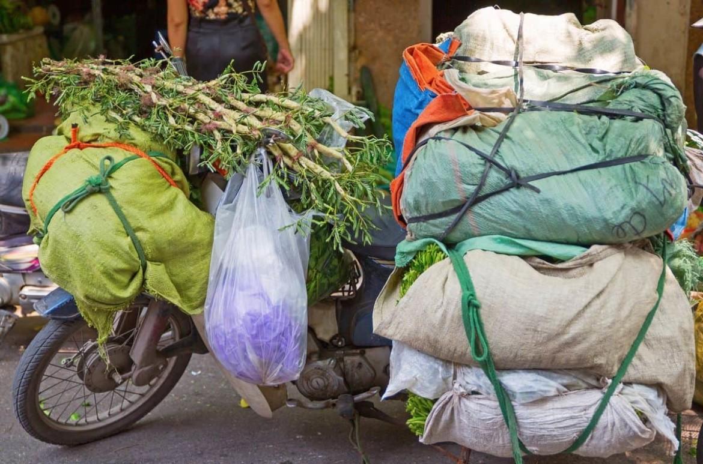 tassen groente aan motorfiets