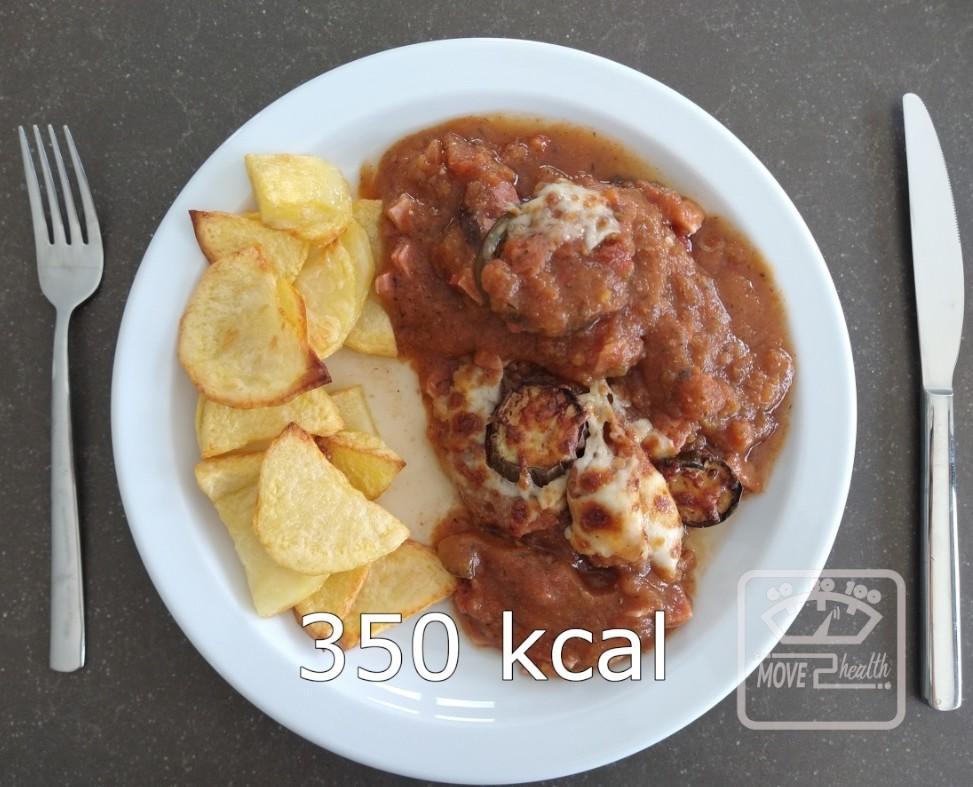 aubergine met tomatensaus en ham caloriearm recept 350 kcal