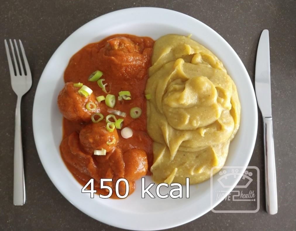 balletjes in tomatensaus met bloemkoolpuree gezond en caloriearm recept 450 kcal