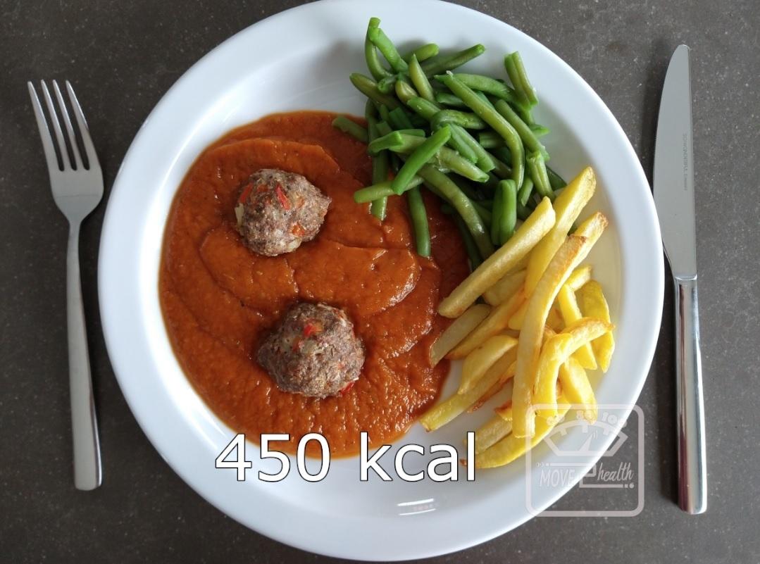 gehaktballetjes met tomatensaus en ovenfrietjes gezond recept caloriearm portie 450 kcal