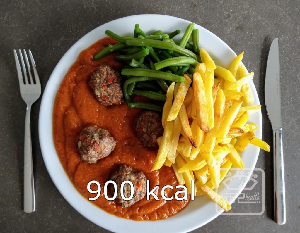 gehaktballetjes met tomatensaus en ovenfrietjes gezond recept caloriearm portie 900 kcal