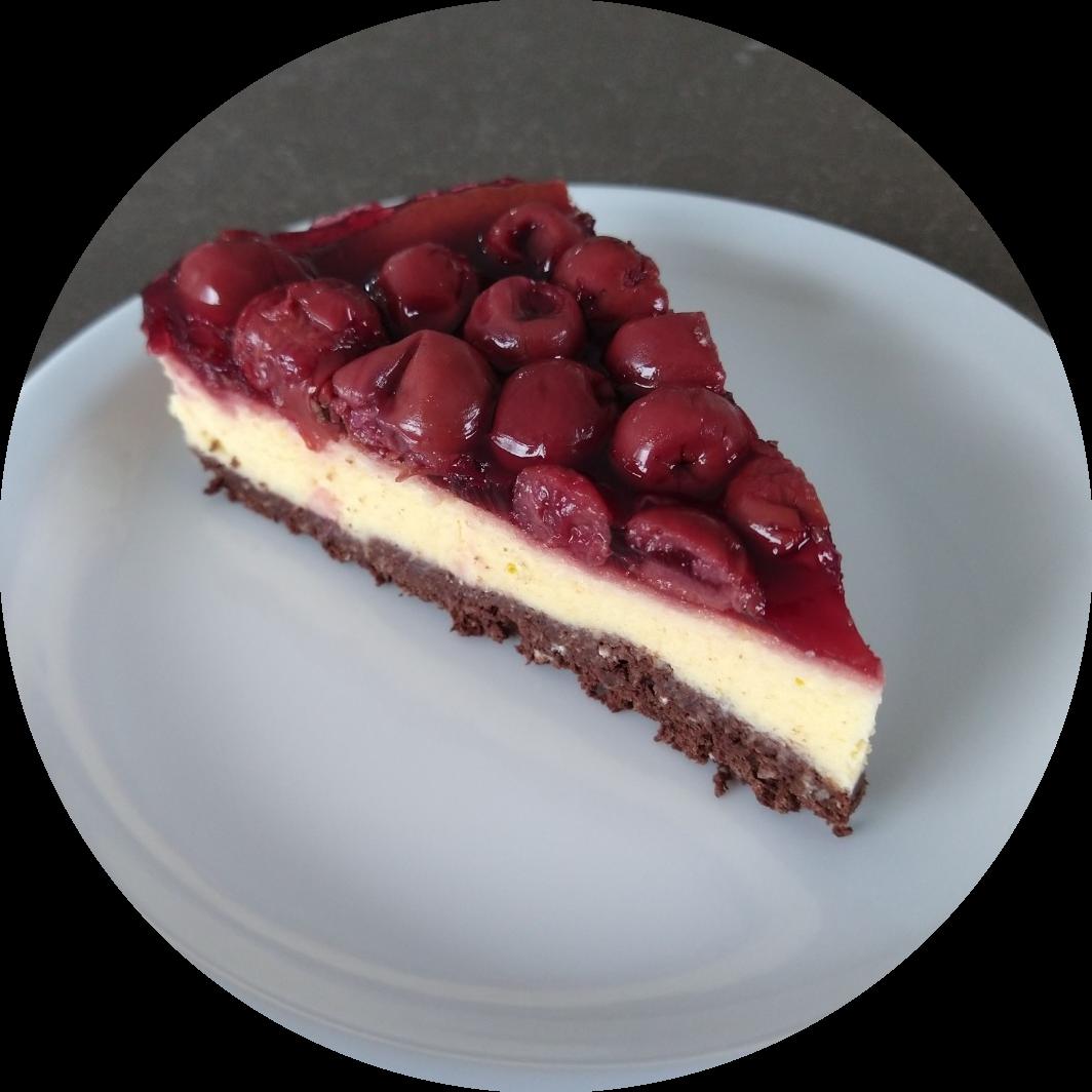 krieken plattekaastaart gezond en caloriearm gebak 1 stuk
