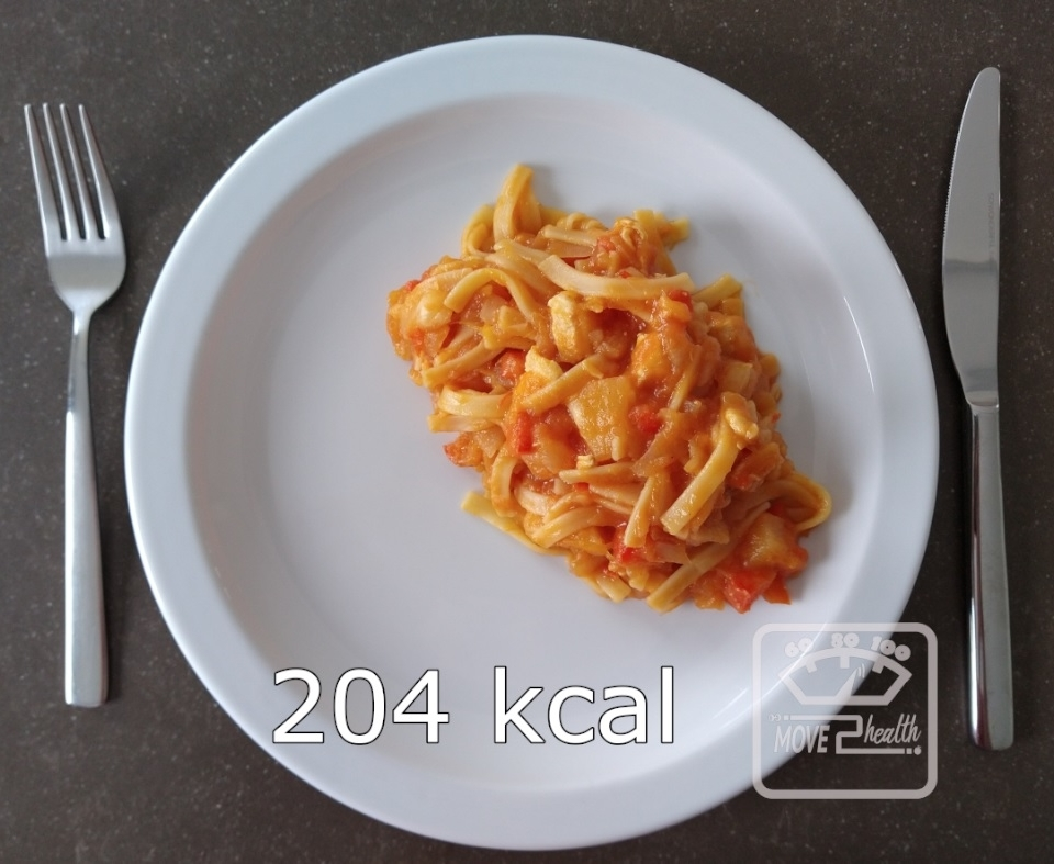 Tagliatelle met pompoen en kip caloriearm en gezond portie 204 kcal