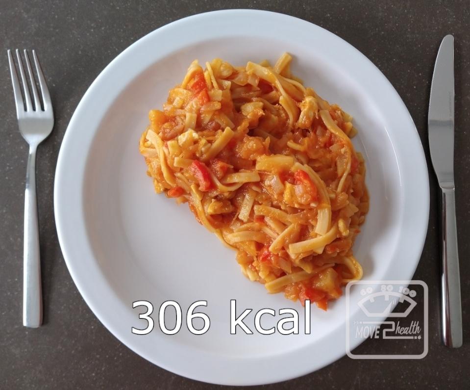 Tagliatelle met pompoen en kip caloriearm en gezond portie 306 kcal