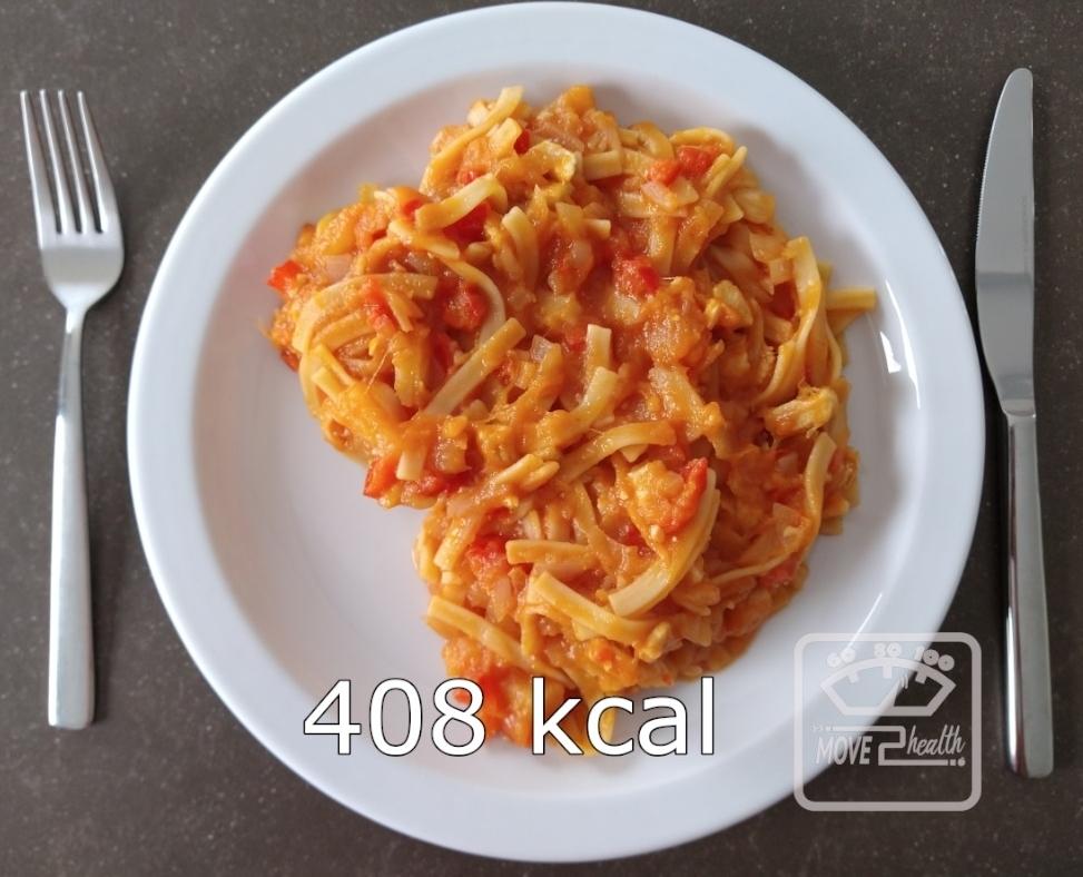 Tagliatelle met pompoen en kip caloriearm en gezond portie 408 kcal