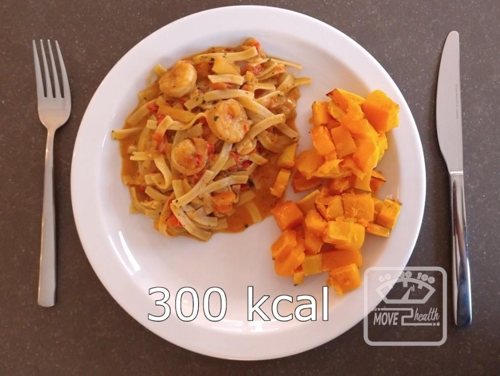 Tagliatelle scampi met geroosterde butternut caloriearm en gezond recept 300 kcal