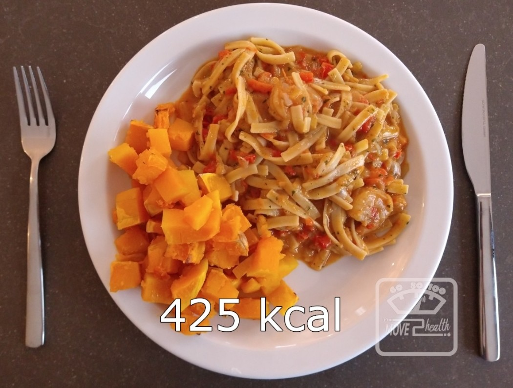 Tagliatelle scampi met geroosterde butternut caloriearm en gezond recept 425 kcal