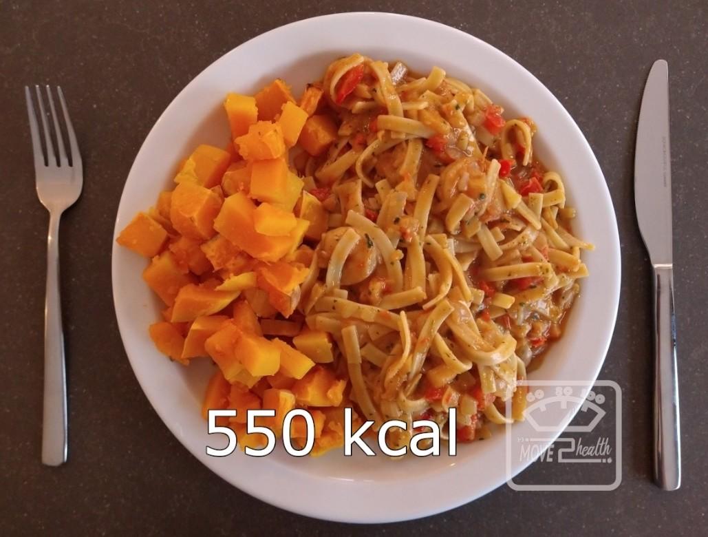 Tagliatelle scampi met geroosterde butternut caloriearm en gezond recept 550 kcal