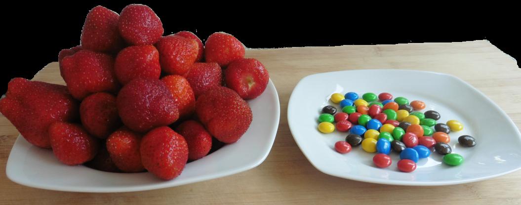 meer eten om af te vallen - aardbeien vs m&m's