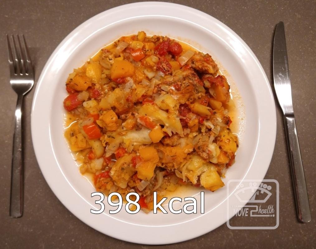 winterse groenteschotel met kippengehakt caloriearm gezond portie 398 kcal