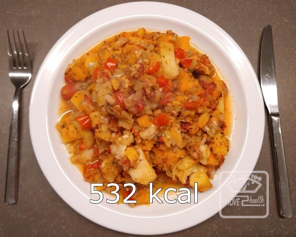 winterse groenteschotel met kippengehakt caloriearm gezond portie 532 kcal