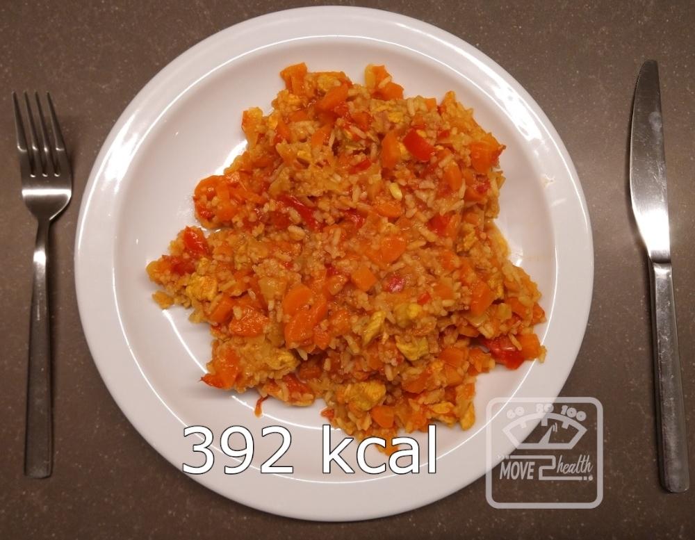 wokschotel met rijst en kip caloriearm en gezond recept voedingswaarde 392 kcal