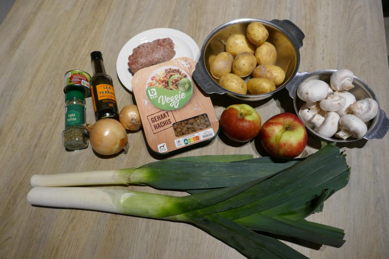 overzicht ingrediënten appeljachtschotel met prei