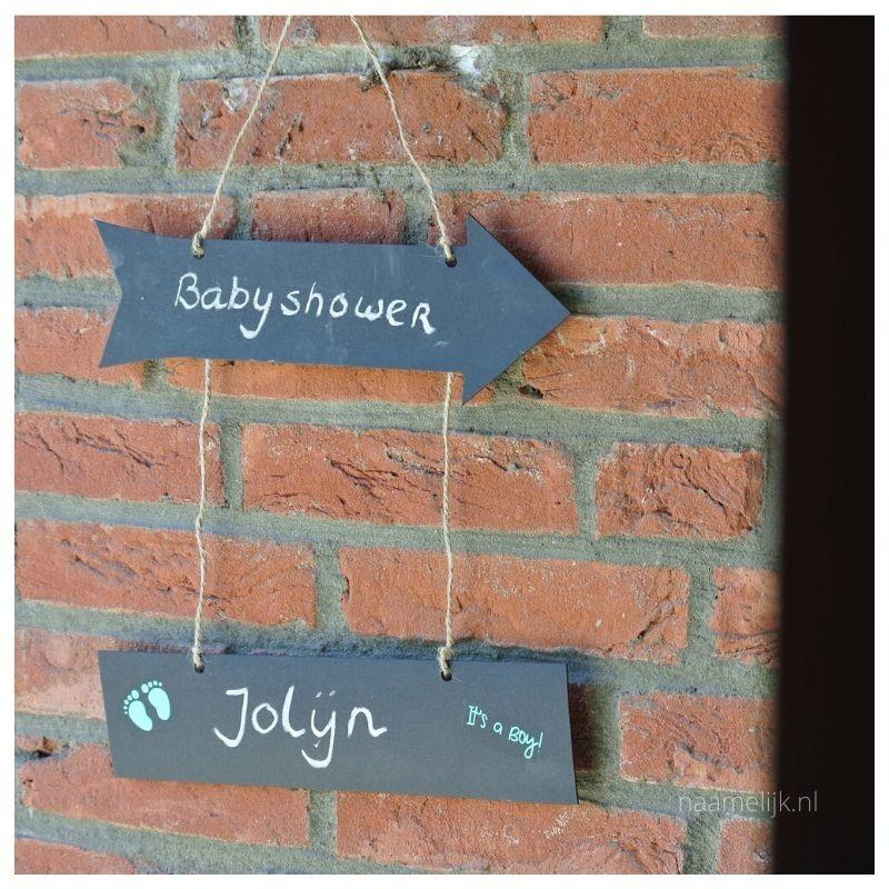 Babyshower versiering sticker op bord