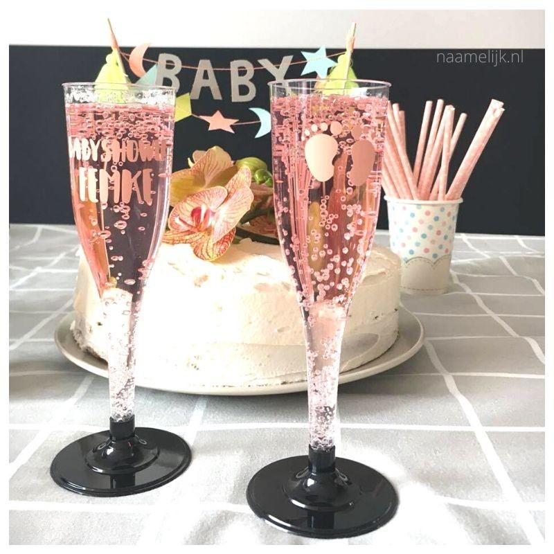 Babyshower versiering gepersonaliseerde glazen