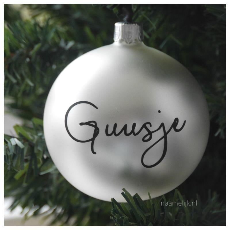 Kerstbal met naamsticker