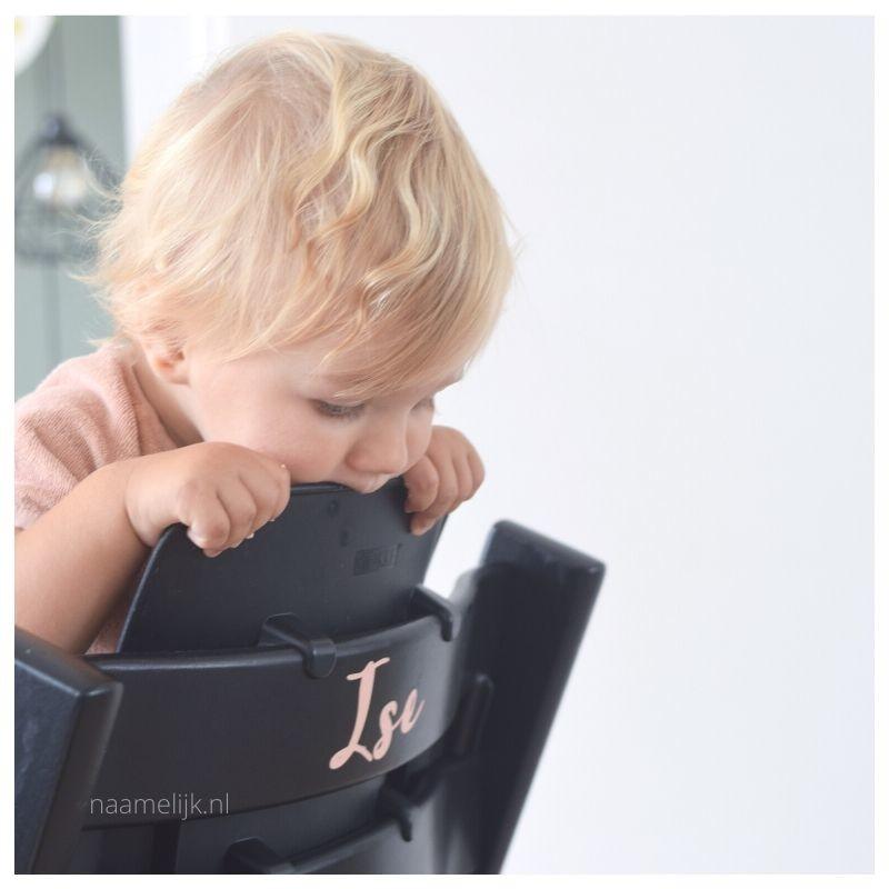 Naamsticker Jackie op Tripp Trapp kinderstoel