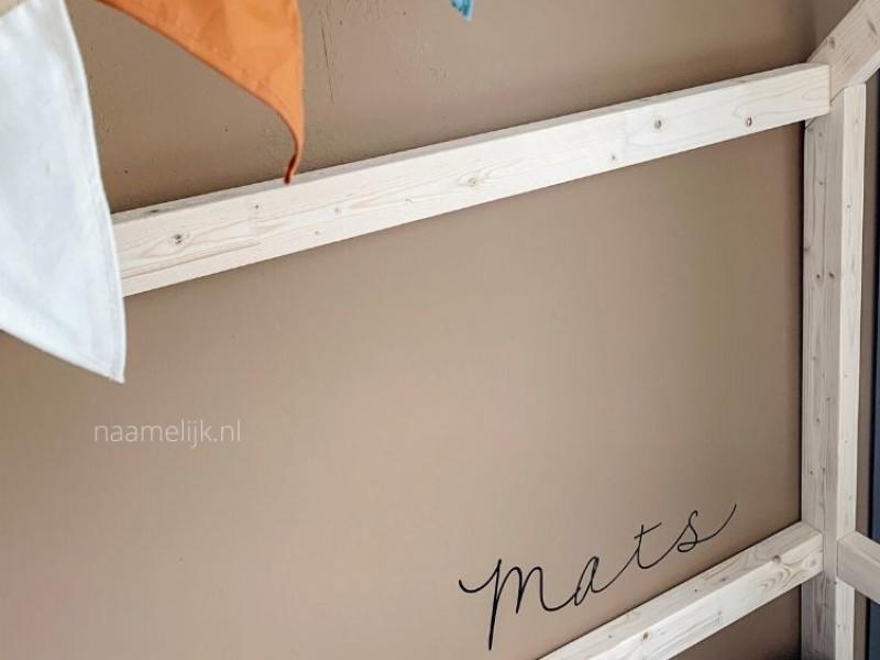 Naamsticker Mats op de muur