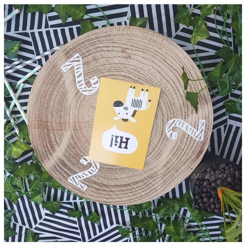 Themafeestje zebra sticker op taartplateau