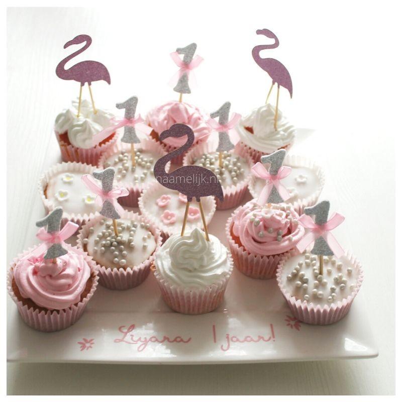 Flamingofeestje cupcakes