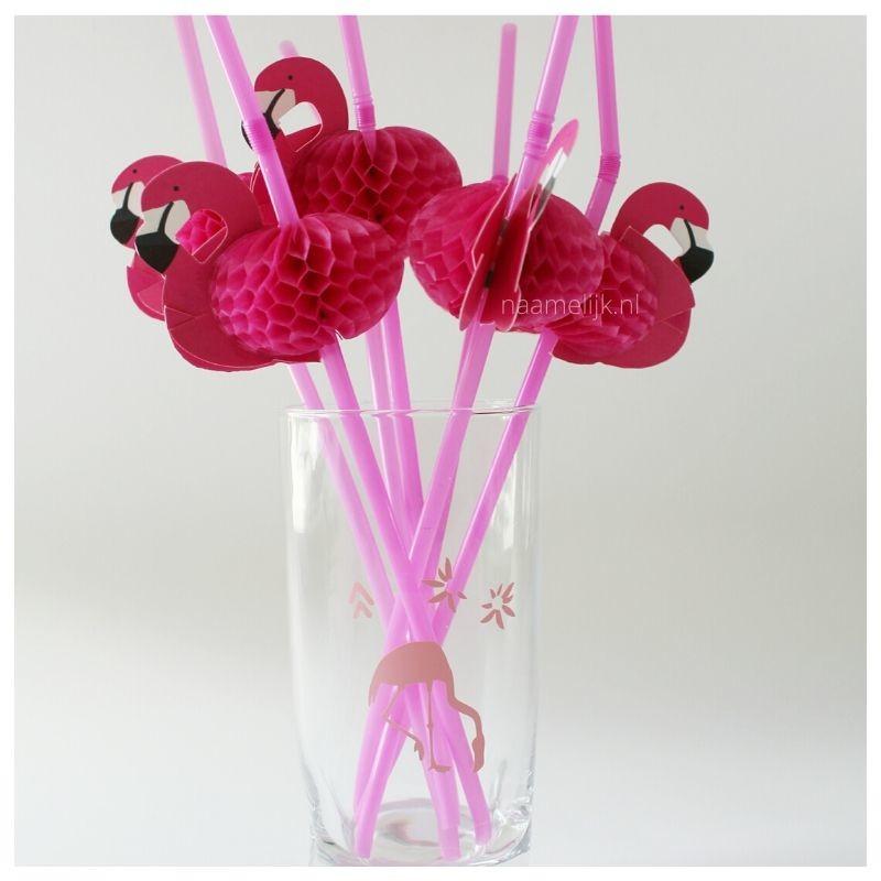 Flamingofeestje sticker op glas