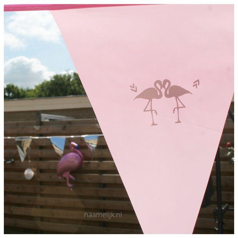 Flamingofeestje sticker op slinger