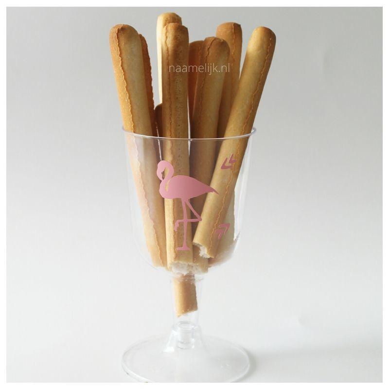 Flamingofeestje roze sticker op glas