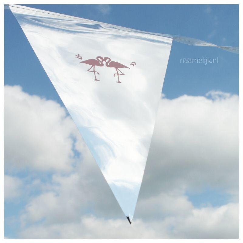 Flamingofeestje sticker op vlaggetjes
