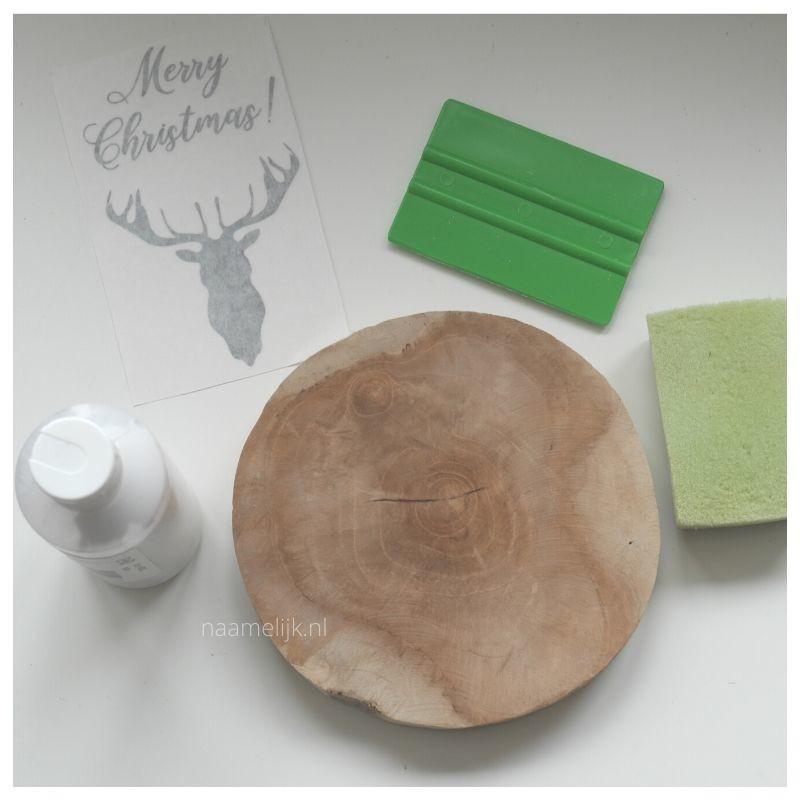 Whitewash kerstbordje maken benodigdheden