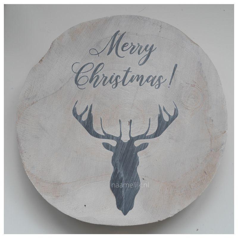 Whitewash kerstbordje maken geverfd