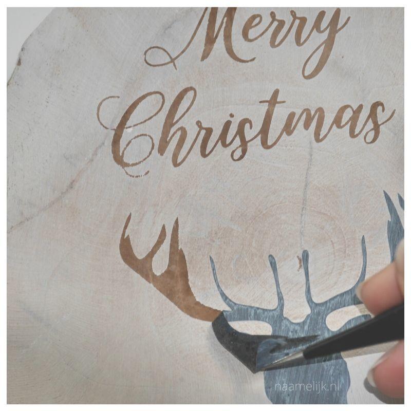 Whitewash kerstbordje maken sticker eraf halen