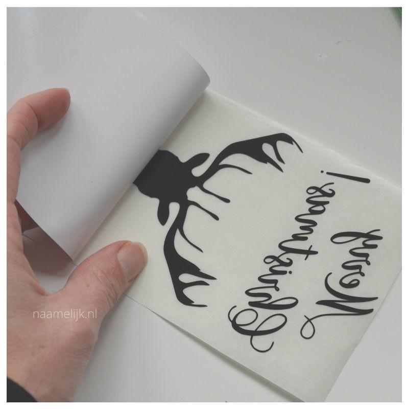 Whitewash kerstbordje maken sticker loshalen