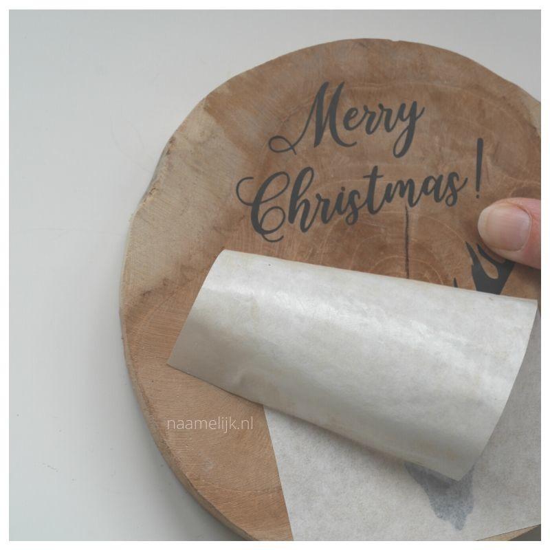 Whitewash kerstbordje maken sticker plakken transfertape los