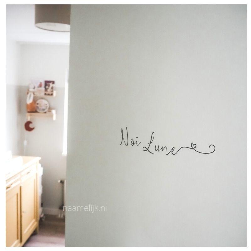 Naamsticker sierlijk hartje op slaapkamer deur - maat M
