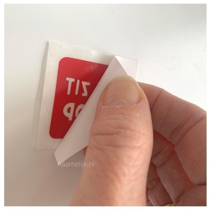 DIY Het zit d'rop potje maken sticker loshalen van achtervel