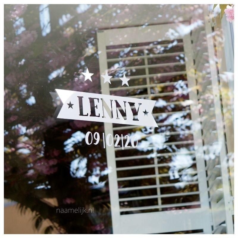Geboortesticker Lenny in wit