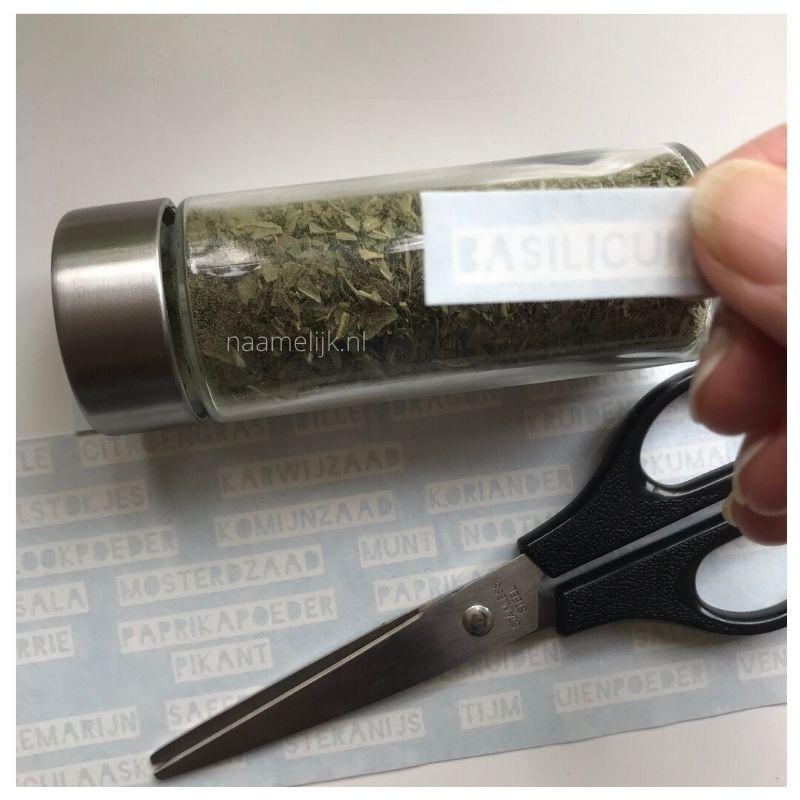 Sticker basilicum voor kruidenpotje